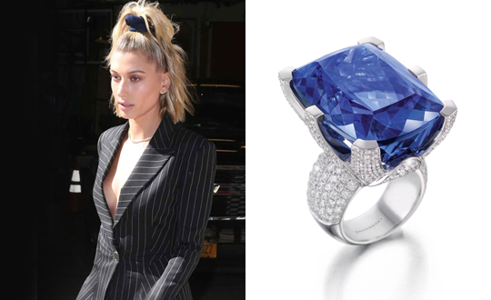 A tanzanite statement ring for Hailey Baldwin